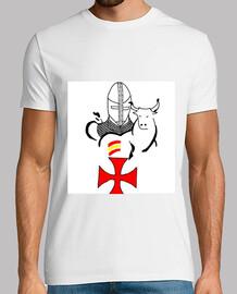 Camiseta de caballero templario con el toro español