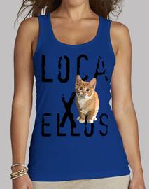 """Camiseta de chica """"loca por los gatos"""" (sin mangas)"""