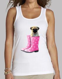 Camiseta de corte largo con carlino y botas de agua rosa