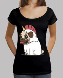 Camiseta de corte largo y ancho  Perro Carlino Unicornio Pug