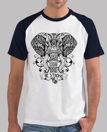 """Camiseta de elefante """"Be Strong"""", Yoga, relajacion, Reiki. Hombre, estilo béisbol, blanca y"""