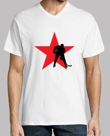 camiseta de hockey del hombre, manga corta, cuello