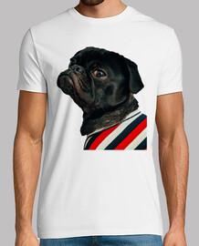 Camiseta de hombre con diseño de  Perro Pug Carlino con camisa de rallas