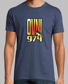 camiseta de hombre, denim, ufo 974, estampado en la parte delantera y trasera.