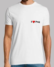 Camiseta de manga corta corazon pug