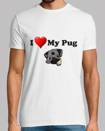 Camiseta de manga corta I love my pug