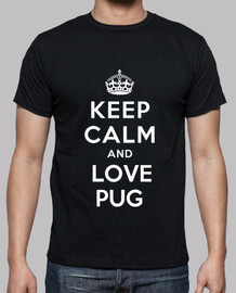 Camiseta de manga corta keep calm and love pug