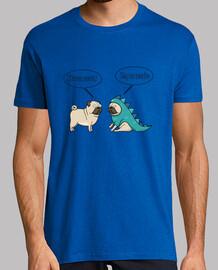 Camiseta de manga corta pug dinosaurio