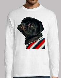 Camiseta de manga larga con diseño de  Perro Pug Carlino con camisa de rallas