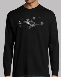 Camiseta de manga larga con drone en pecho