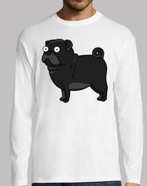 Camiseta de manga larga con Perro Pug Carlino Negro