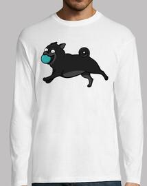Camiseta de manga larga de Perros Pug Carlino Negro