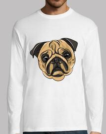 Camiseta de manga larga diseño Cara Perro Pug Carlino
