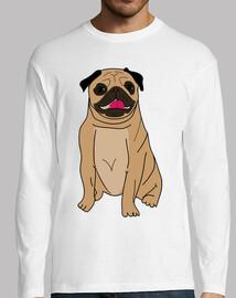 Camiseta de manga larga hombre diseño Dibujo perro pug carlino