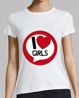 camiseta de mujer - me encanta el corazón de las chicas
