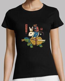 camiseta de mujer ninja kame, usagi y ratto.