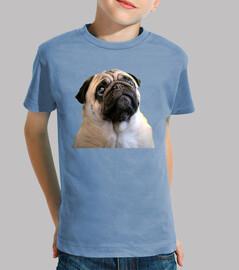 Camiseta de niño con diseño de Carita de  Perro Pug Carlino