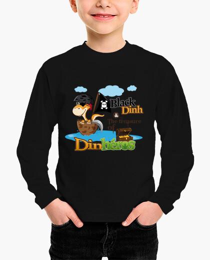 Ropa infantil camiseta de niño dinh dinosaurio pirata negro