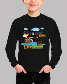 camiseta de niño dinh dinosaurio pirata negro