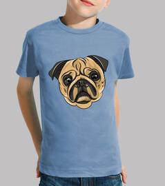 Camiseta de niño diseño Cara Perro Pug Carlino
