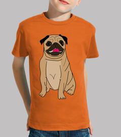Camiseta de niño diseño Dibujo perro pug carlino