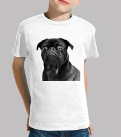 Camiseta de niño y diseño de Perro Pug Carlino negro