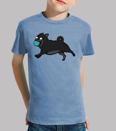 Camiseta de niño diseño Perros Pug Carlino Negro