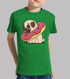 Camiseta de niño Perro Pug Carlino con flotador donut