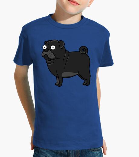 Ropa infantil Camiseta de niños con Perro Pug Carlino Negro