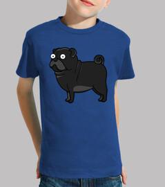 Camiseta de niños con Perro Pug Carlino Negro