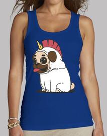 Camiseta de tirantes anchos mujer Perro Carlino Unicornio Pug