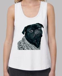 Camiseta de tirantes de corte extra y diseño de  Perro Pug Carlino con jersey