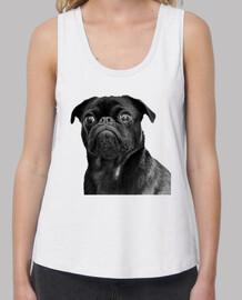 Camiseta de tirantes de corte extra y diseño de Perro Pug Carlino negro