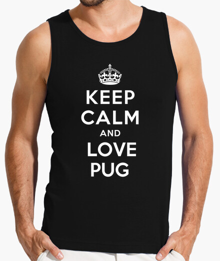 Camiseta de tirantes keep calm and love pug
