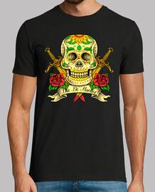 Camiseta Día de los Muertos Tattoo Sugar Skull  México Tatuaje Rosas Rojas