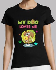 Camiseta Divertida My Dog Loves Me Animales Amor