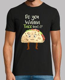 Camiseta Divertida Taco Pixel Art Comida Retro 80s 90s Vintage Do You Wanna Taco
