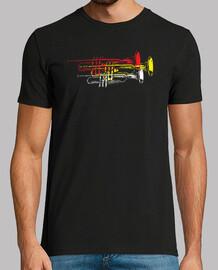 camiseta divertida trompetas multicolor