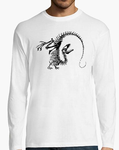 Camiseta esqueleto dinosaurio hombre manga larga
