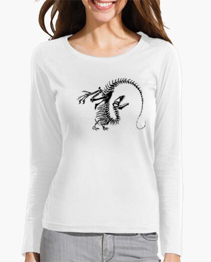 Camiseta esqueleto dinosaurio mujer manga larga