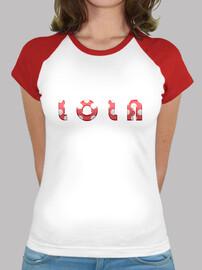 Camiseta estilo béisbol  mujer, Lola lunares