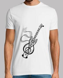 camiseta festival guitarra nota negro hombre