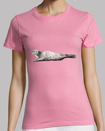 Camiseta foca Mujer, manga corta, rosa, calidad premium