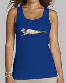 Camiseta foca Mujer, sin mangas, azul royal