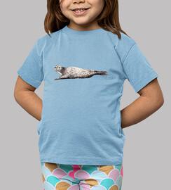 Camiseta foca Niño, manga corta, celeste