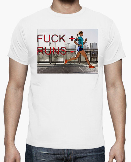 Camiseta Fuck runs white cartoon