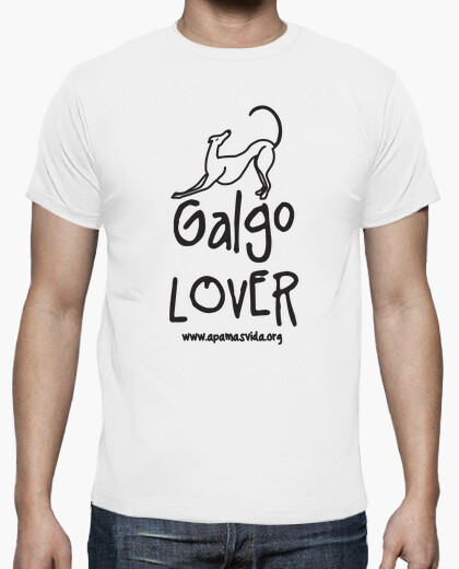 Camiseta GALGO LOVER CHICO LETRA NEGRA