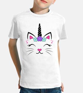 Camiseta Gata Unicornio Fantasía Divertidas Graciosa Infantiles Animales