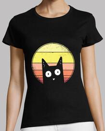 Camiseta gato al atardecer
