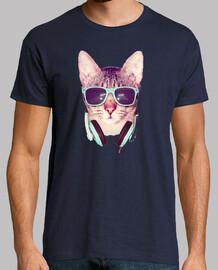 Camiseta Gato con gafas